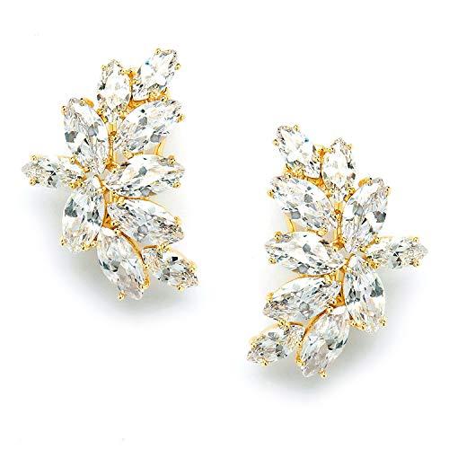 Mariell Gold CZ Bridal Earrings, CZ Wedding Earrings, Gold CZ Bridal Earrings, Gold Earrings for Bride