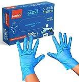 STEELMATES Guantes de Tpe desechables 100 unidades, guantes de trabajo sin látex, guantes desechables ideales para uso alimentario y esteticista (L, azul)