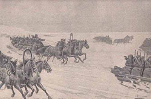 Baikalsee - Beförderung russischer Truppen über den Baikalsee während des Krieges zwischen Rußland und Japan. In dreispännigen Schlitten werden die Soldaten über den zugefrorenen See transportiert. [Grafik]