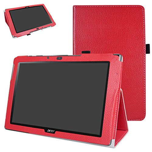 Mama Mouth Acer Iconia One 10 B3-A40 Funda, Slim PU Cuero con Soporte Funda Caso Case para 10.1' Acer Iconia One 10 B3-A40 Android Tablet PC,Rojo