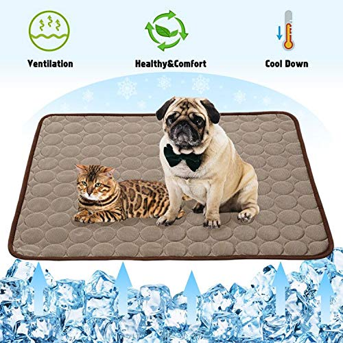 Summer Cooling Mat for Dogs Cats Self Dog Cooling Mat Blanket Breathable Pet Crate Pad Portable & Washable Pet Cooling Blanket for Small Medium and Large Pet Outdoor or Home Use (28 X 22in, Coffee) Bed Mats