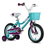 cycmoto Princess 14' Kids Bike with Basket, Hand Brake & Training Wheels for 3 4 5 Years Girls, Toddler Bicycle Teal