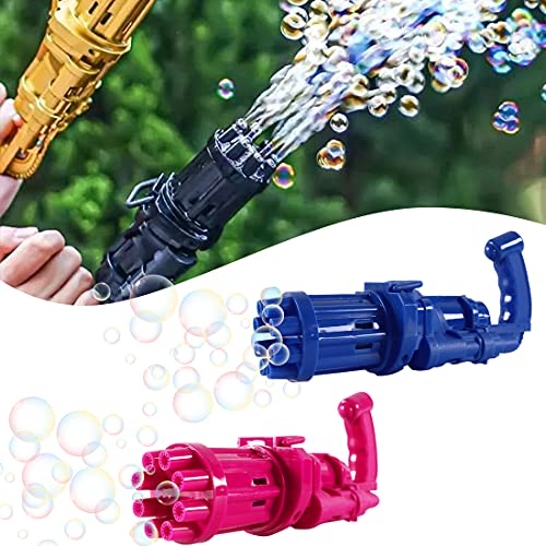 WINNING Gatling Bubble Machine 2 Pack Automatic Bubble Gun for Kids 8 Hole Huge Amount Bubble Maker Cool Bubble Guns Outdoor Toys for Boys and Girls(Blue + Red)
