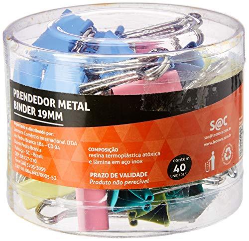 Prendedor Metal Binder Colorido 19mm Pote/40 Un Jocar Office Leonora, Colorido