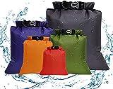 Aesy Bolsa Estanca, Bolsa Impermeable, Bolsas Estancas, Bolsa Estanca Impermeable, Bolsa Seco, Ligero, Ultra Ligero, para Kayak, Senderismo, Viaje, Surf, 5pcs (1.5L / 2.5L / 3.5/4.5L / 6L) (5 Color)