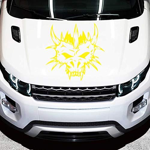 JINTORA Sticker - Autocollant De Voiture Crâne De Monstre 40cm x 39cm Jaune - réglage Lunette arrière Voiture - Style de Voiture