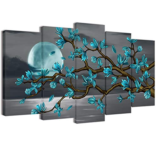 Visual Art Decor Beautiful Flowers Wall Art Abstract Teal Magnolia Blossom Over Sea Canvas Prints Gallery Wrap Floral Decoration Modern Living Room Bedroom Home Artwork Gift (W-60xH-32)