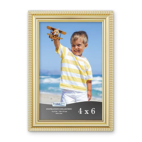 Icona Bay 4x6 Picture Frame (Gold, 1 Pack) Beautifully Detailed Molding, Picture Frame Set, Wall Mount or Table Top, Inspirations Collection