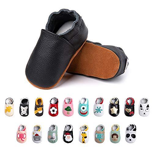 Primeros Pasos Bebe Niña Niños Zapatos Zapatillas de Estar por Casa Pantuflas Calzado Botitas y Patucos Infantiles Piel Sintético Casual Antideslizante-1 Negro 0-6 Meses