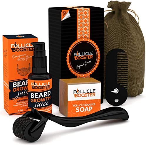 FOLLICLE BOOSTER Complete Beard Growth Kit Beard Growth Serum Beard Growth Roller Beard Wash product image