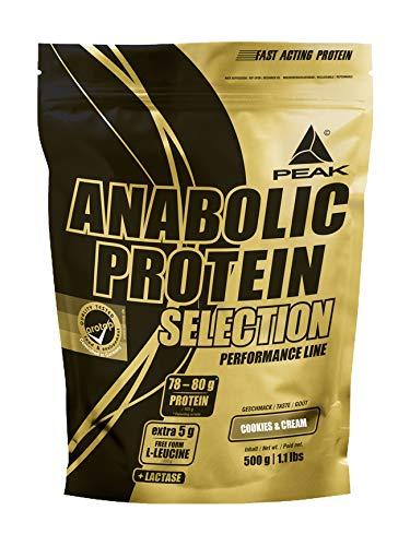 PEAK Anabolic Protein Selection Cookies & Cream 500g | Premium Molkenprotein mit L-Leucin und Soja-Isolat |