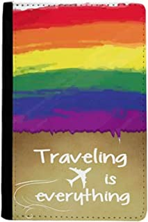 Stippling Rainbow Gay Lesbian LGBT Traveling quato Passport Holder Travel Wallet Cover Case Card Purse