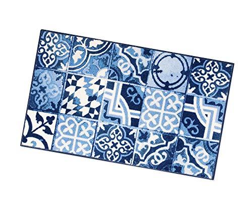 ARREDIAMOINSIEME-nelweb Tappeto Cucina Piastrelle Maioliche Retro Antiscivolo 7 Misure Multiuso Corridoio Bagno Camera MOD.TAPIRO31 50x115 Blu (E)