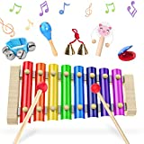 Xilofono, Xilofono Infantil, Xilofono Bebe Glockenspiel, Percussion Drums 6 Pieces Set, 23.5 x 12 x 2.5 cm, Juguetes De Madera Xilofono Instrumento Musical,Perfect For Little Musicians