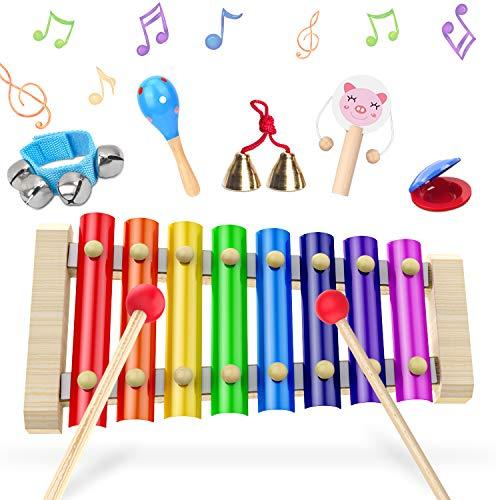 Strumenti Musicali Bambini 6 Pezzi,Xilofono Legno,Glockenspiel, Tamburo bambino, Set Percussione Strumenti Musical Per bambini,Piccoli Musicisti