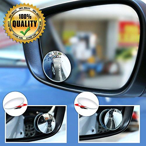 Auto Toter Winkel Spiegel Totwinkel Seite konvexen Spiegel Rearview 360 Weitwinkel Einstellbare Runde Randlos, Stick auf Rückansicht Parkspiegel für alle Autos SUV Trucks Motorrad, 2 Stück