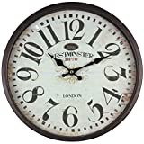 perla pd design Metall Wanduhr mit Glasscheibe Vintage Design Westminster schwarzbraun lackiert ca....