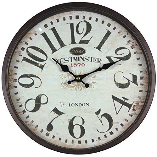 Reloj de pared de metal lacado con esfera de cristal y diseño vintage