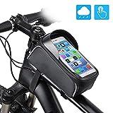 EXTSUD Fahrrad Rahmentaschen Wasserdicht Farhrradlenkertasche Fahrradrahmen Tasche Oberrohrtasche Handytasche Geeignet für Smartphones/Innerhalb mit Kopfhörerloch, TPU Touchschirm von 6 Zoll