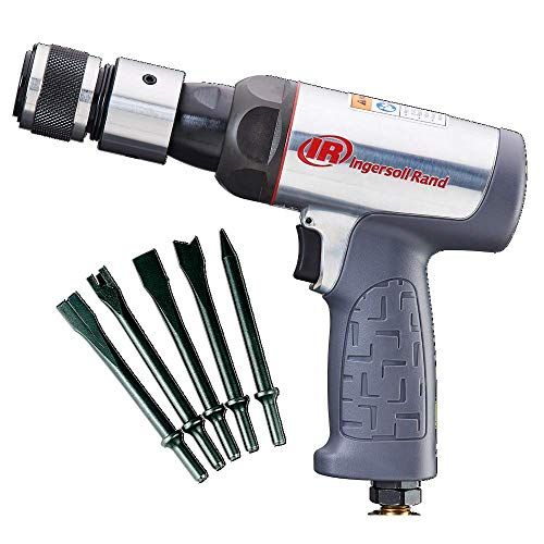 Ingersoll Rand 123MAXK Short Barrel Air Hammer Kit, 5 PC Chisel Set, Quick Change Retainer, Carrying Case, Anti Vibration Power Tool, 3530 BPM, Lightweight, Gray