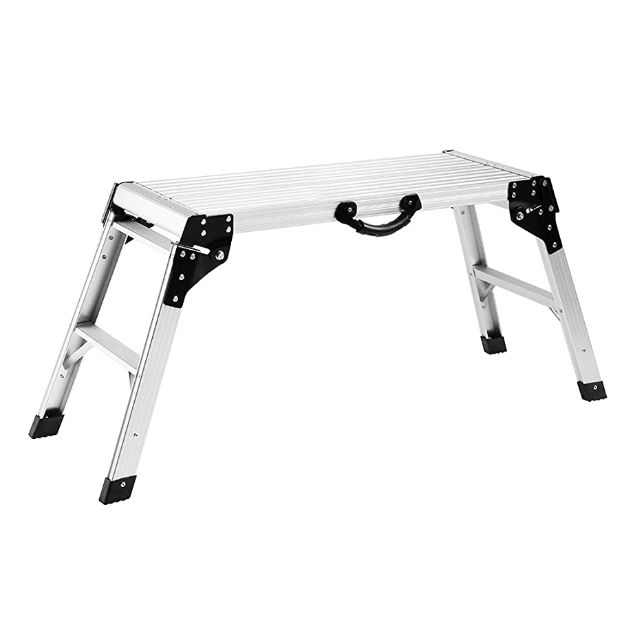 Finether Aluminum Work Platform Drywall Step Up Folding Work Bench|Portable Stool Ladder with Non-Slip Mat and Side Handle