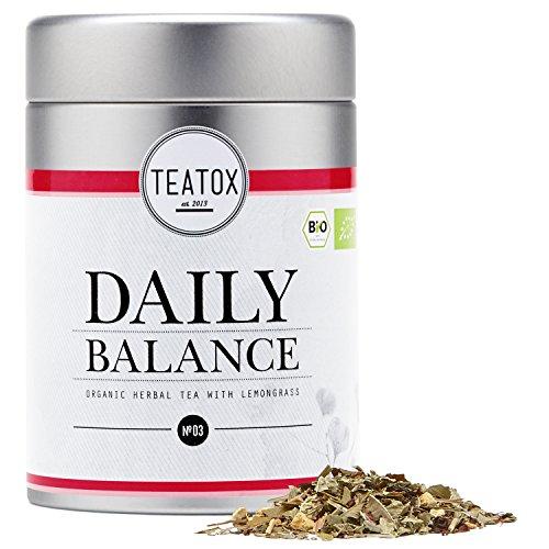 Teatox Bio-Kräutertee DAILY BALANCE für Entspannung im Alltag | loser Tee aus 5 feinen Gewürzen, mit Verbene, Honigbusch & Ingwer | 100% biologisch & vegan, ohne Aromen & Zusätze | 50g in der Dose