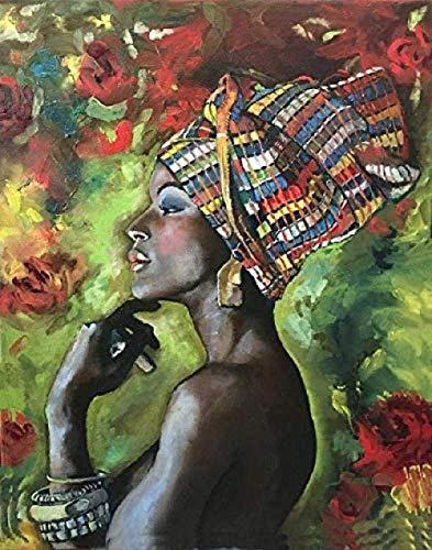 YUMUYAO Puzzle ad Alta difficoltà 1000 Pezzi di Puzzle di decompressione per Adulti Dipinti di paesaggi Puzzle di Piccole Dimensioni -Ragazza Africana con Cappello