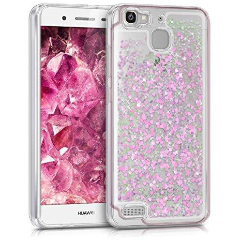 Huawei GR3 / P8 Lite SMART Hülle - Handyhülle für Huawei GR3 / P8 Lite SMART - Handy Case in Pink Transparent