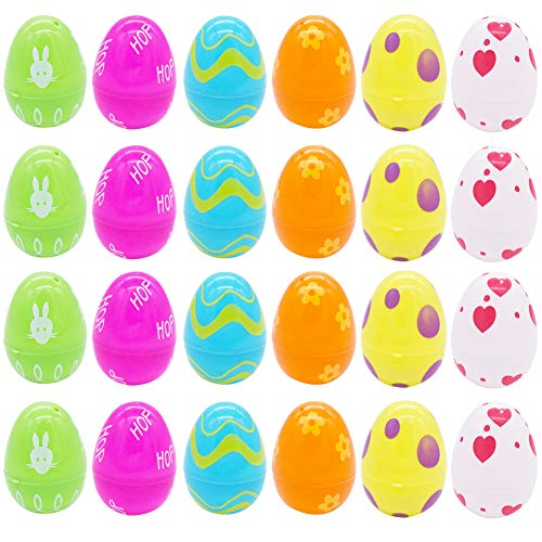 BAIBEI 24Pcs Huevos de Pascua Vacíos, Huevos de Pascua de Plástico Rellenables Sorpresa, para la Búsqueda del Huevo de Pascua