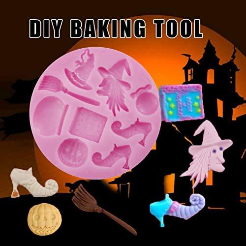 ADIUMA Moldes de Pastel de Bruja de Mago de Silicona de Halloween Moldes para Hornear Fondant DIY para Suministros de Halloween