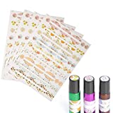 Alucy Essential Oil Bottle Sticker, 4 Sheets of Essential Oil Bottle Labels Oval and Round Labels Colorful Bottle Stickers for Essential Oil Bottles