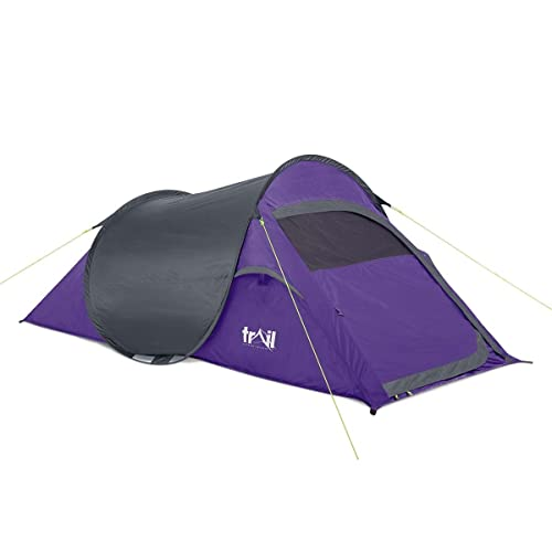 db32f6ea596 Trail SS 2 Man Pop Up Tent Quick Pitch Festival Camping Waterproof 1500mm HH
