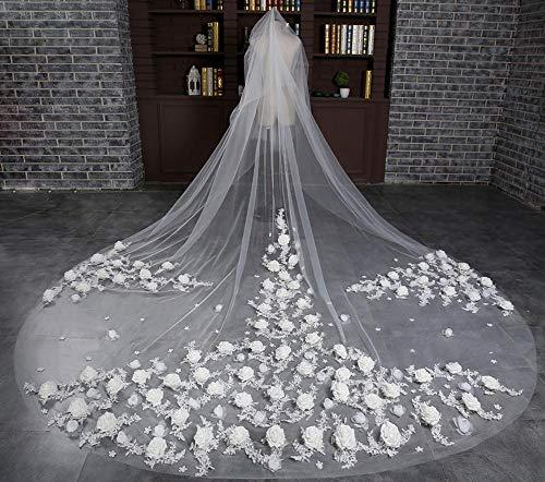 Olydmsky Schleier Braut,Großer Kopf Garn 118 in * 118 in Reis, das Lange Breite Blütenblätter ziehen Boden Brautkleid Zubehör