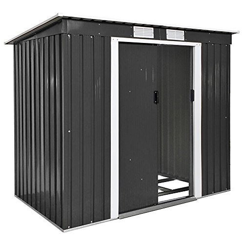 TecTake Garden Pent Metal Shed Greenhouse Tool Storage with Double Doors Saddle Roof | 214x130x185 cm | with Foundation | grey (Type 4 | grey| no. 402569)