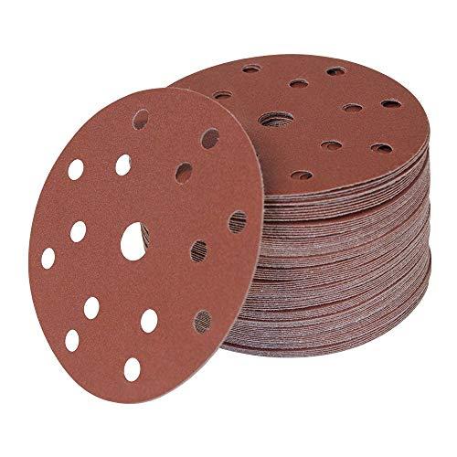 Woltersberger® 50 Stück Exzenter Schleifscheiben Ø 150mm | Körnung P80 | 15 Loch in rot | für optimales schleifen, vielseitig einsetzbar | Klett Schleifpapier Haft