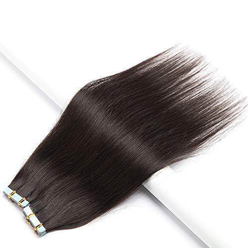 Tape Extensions Echthaar Klebeband Remy Haarverlängerung Glatt Human Hair 20 Stücke/Paket 18 Zoll(45cm) 50g #02 Dunkelbraun