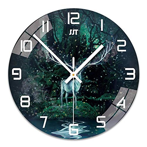 hufeng Reloj de Pared de Vidrio Templado Transparente Creativo silencioso diseño Moderno Reloj de Pared para el hogar Cocina Sala de Estar decoración Funciona con Pilas silencioso