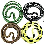 Boley Jumbo Snakes - 4 Pack 52' Long Realistic Rubber Fake Snake Toy Set - Variety Pack Includes Python, Rattlesnake, Garden Snake, Cobra - Prank Toys, Theater Props, and Party Favors for Kids