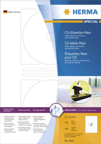HERMA 4460 CD-/DVD-Etiketten inkl. Positionierhilfe DIN A4 blickdicht (Ø 116 mm MAXI, 100 Blatt, Papier, matt) selbstklebend, bedruckbar, permanent haftende CD-Aufkleber, 200 Klebeetiketten, weiß