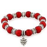 Morella Pulsera elástica de Perlas de Piedra con Colgante Lechuza y Piedras de circonita, Color Rojo, para Damas