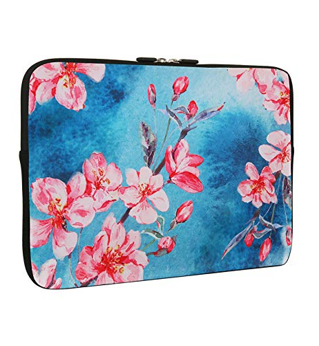 Laptop 13-13.3 Inch Cherry Blossom Sleeve Bag, Water Repellent Neoprene Light Weight Computer Skin Bag, Blue Notebook Carrying Case Cover Bags