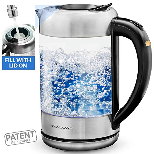 Ovente Electric Hot Water Glass Kettle 1.7 Liter with ProntoFill Technology The Easy Fill Solution, Halo LED Light, BPA-Free, 1500 Watts Perfect for Tea, Coffee, Hot Beverage and More, Silver (KG612S)