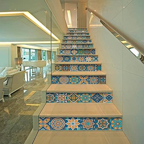 tzxdbh 3D Pegatinas de Escalera Azul estilo bohemio 100CMx18CMx13pieces(39.3'w x 7'h x 13pieces) Ecológicas PVC Autoadhesivas Calcomanías para Escalera Impermeables Extraíbles para Decoración de La Sa