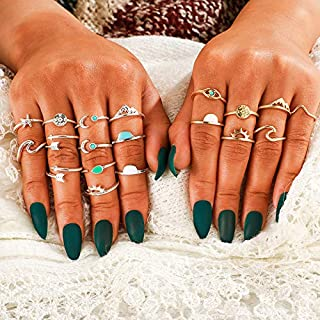Clairy Boho Silver Stacking Rings Moon Knuckle Rings Star Finger Rings Jewelry for Women and Girls 19PCS