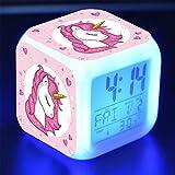 QINGQING Mini Réveil Numérique Licorne Créativité,Réveil Coloré Lumières Humeur Horloge Carrée,Convient,Meilleur Cadeau pour Garçons Et Filles Powered Alimenté par USB