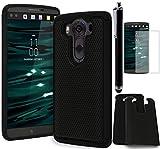LG V10 Phone Case, Bastex Heavy Duty Hybrid Soft Black Silicone Cover Hard Black Shock Design CaseINCLUDES Screen Protector and Stylus