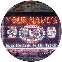 Personalized Your Name Est Year Theme Irish Pub Dual Color LED看板 ネオンプレート サイン 標識 白色 + オレンジ色 300 x 210mm st6s32-pa1-tm-wo