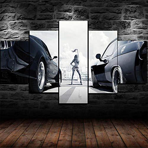 Cuadro En Lienzo, Imagen Impresión, Pintura Decoración, Cuadro Moderno En Lienzo 5 Piezas Xxl,125X60Cm,Car Racing Start Chica Murales Pared Hogar Decor