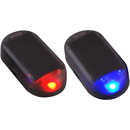 Paddsun 2pcs Solar Powered Car Alarm System,Vehicle LED Light Anti-Theft Flash Blinking Lamp,LED Flashing Security Light, Blue+Red