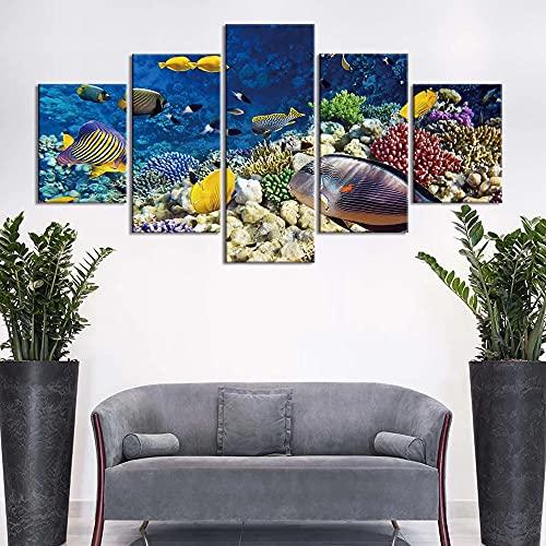 GUANGWEI Impresión En Lienzo Póster HD 5 Combinación De Pintura Colgante Coral De Peces De Mar Colorido Marco De Dibujo Decorativo del Paisaje del Regalo del Arte De La Pared del Hogar